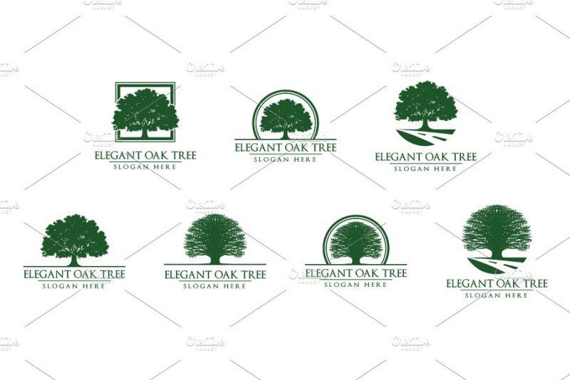 Green Oak Tree logos