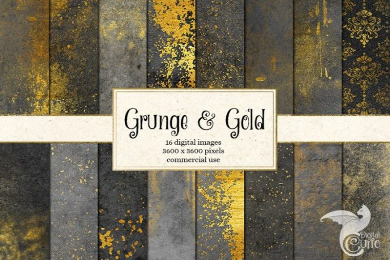 Grunge and Gold Textures PNG