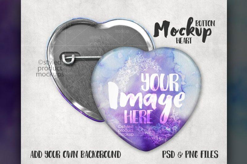 Heart Shaped Pin Button Mockup