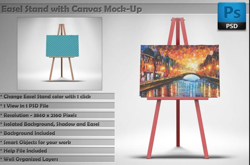 Isolated Canvas Mockup PSD