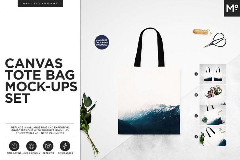 Isolated Tote Bag Mockup Set