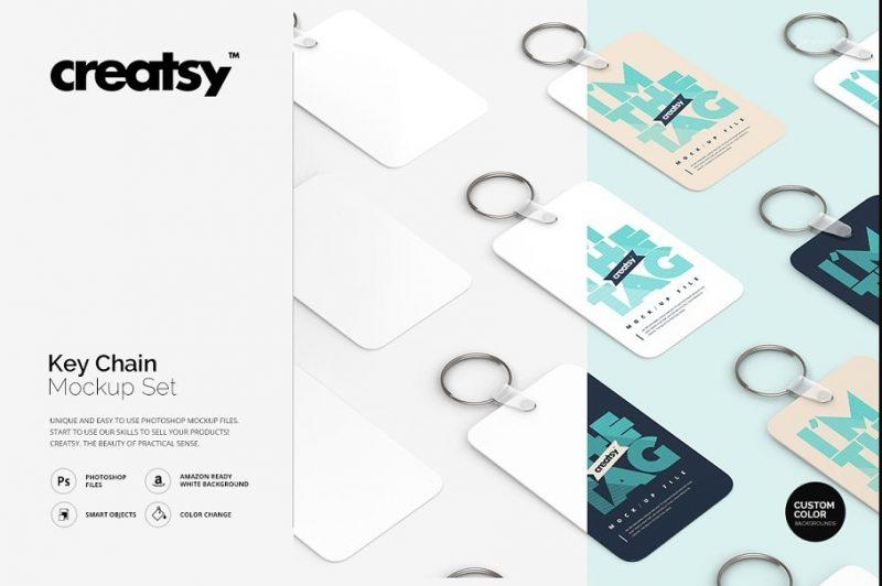 Keychain Mockup PSD Set