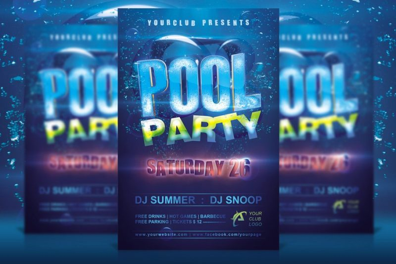 Layered Pool Party Flyers