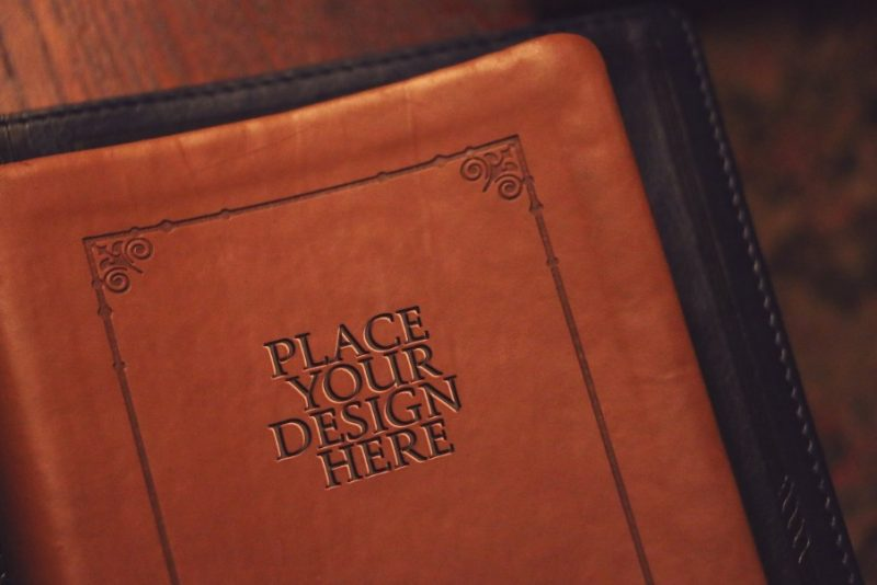 Leather Book Cover Mockup PSD