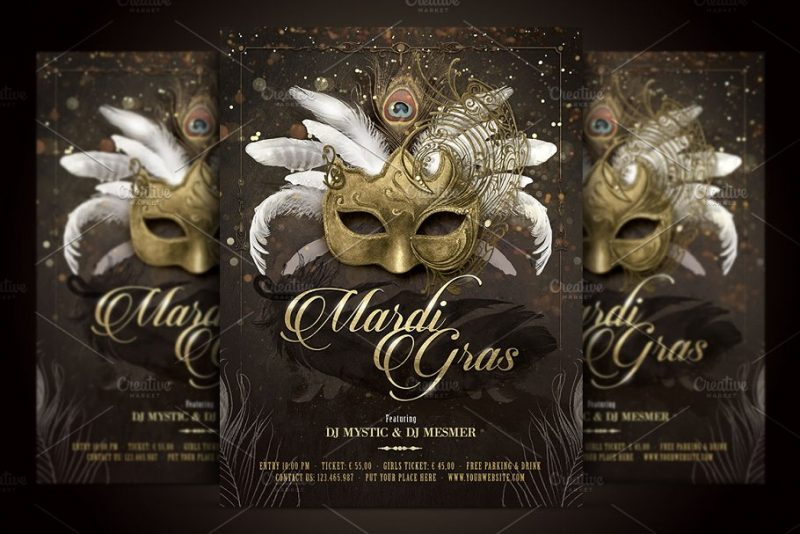 Mardi Gras Ball Flyer PSD
