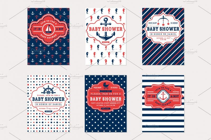 Nautical Baby Shower Flyers