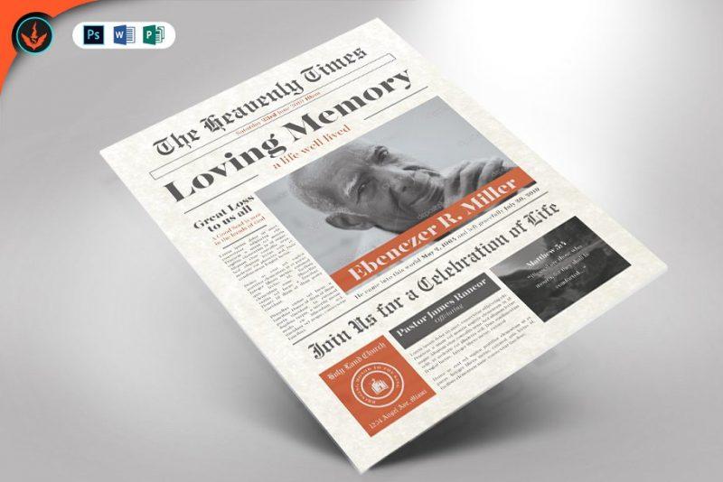 Newspaper Funeral Flyer PSD