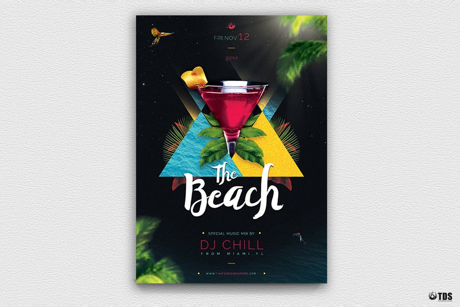 Night at Beach Flyer Template