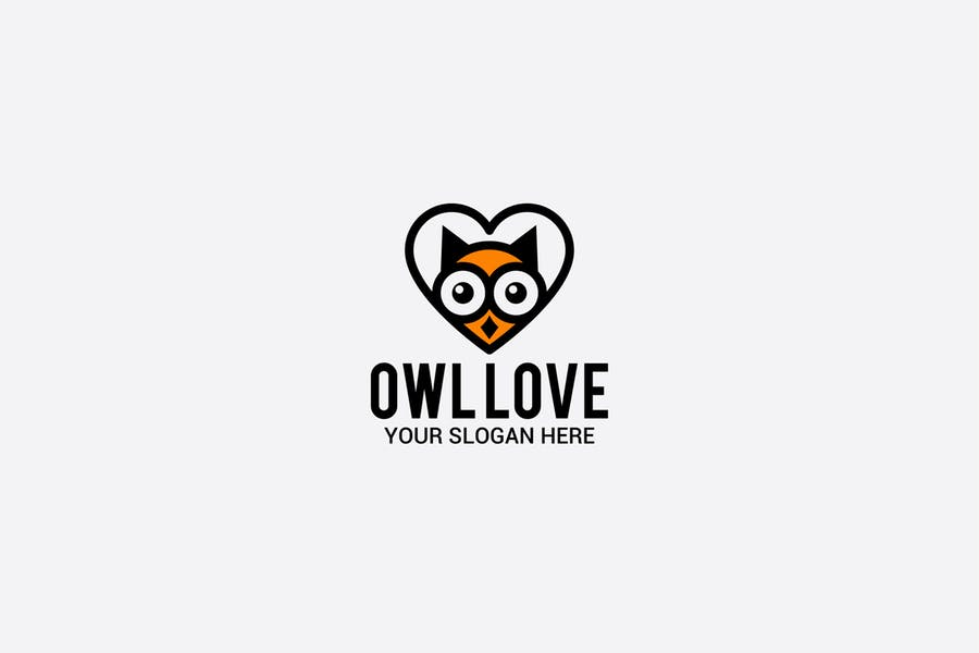 Owl and Heart Logo Design
