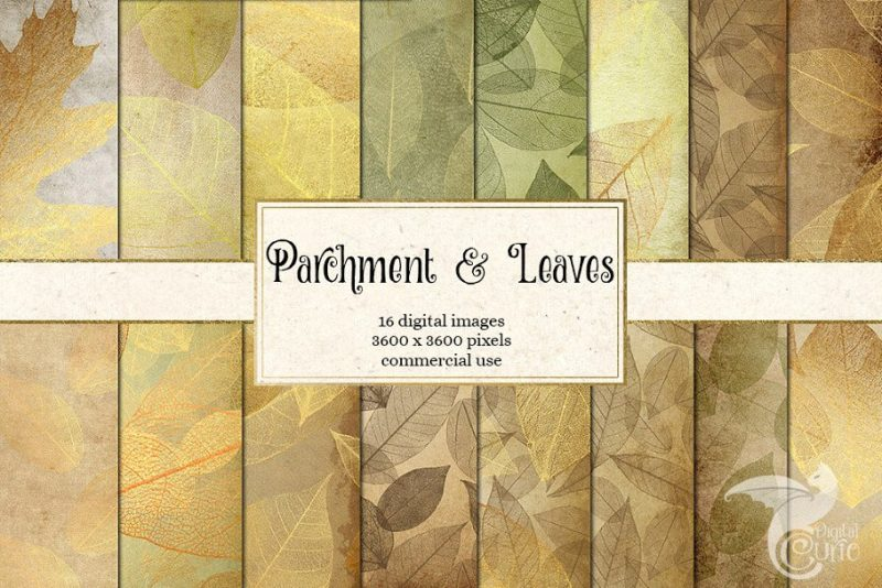 Parchment and Leaves Background Textures