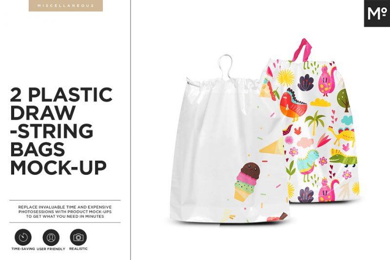 Plastic Drawstring Bag Mockups