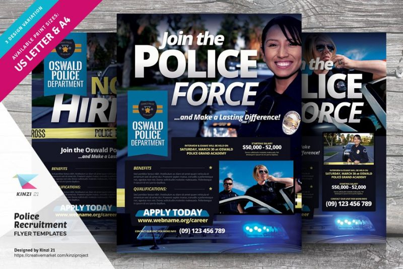 Police Recruitment Flyers PSD