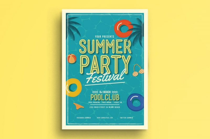 Pool Club Party Flyers