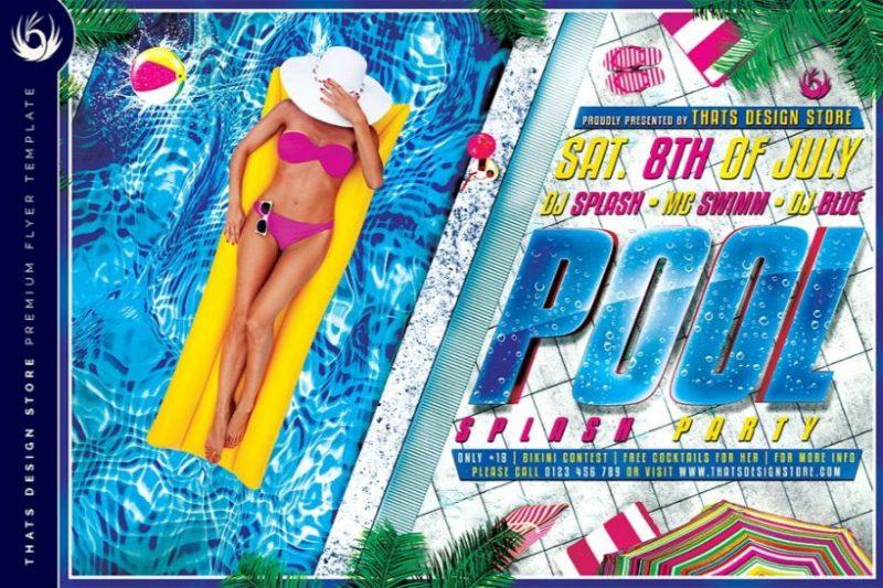 Pool Splash Party Flyers