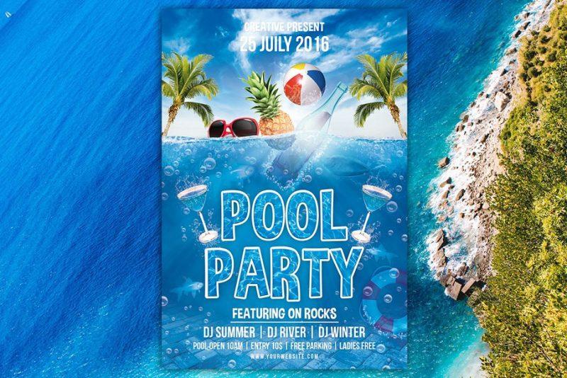 Print Ready Pool Party Flyers