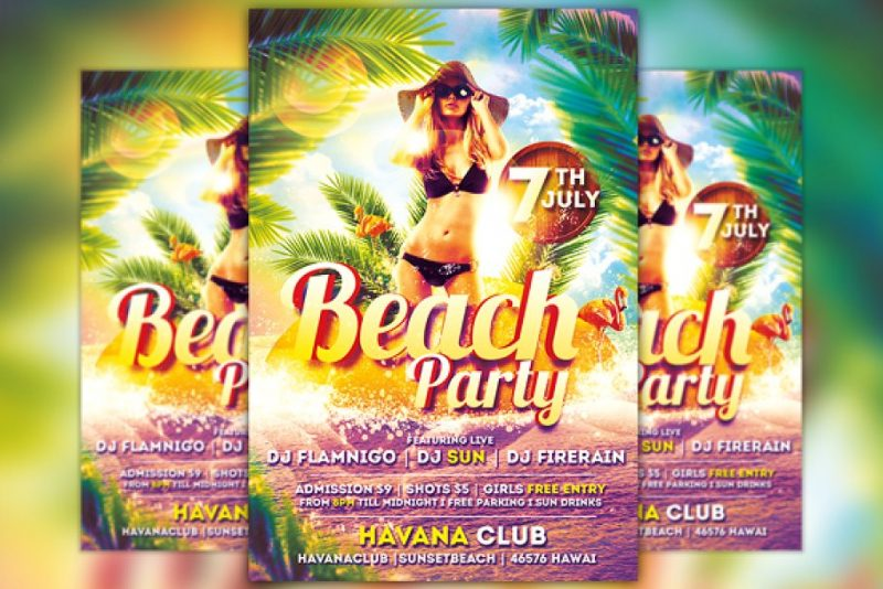 Printable Beach Party Flyers