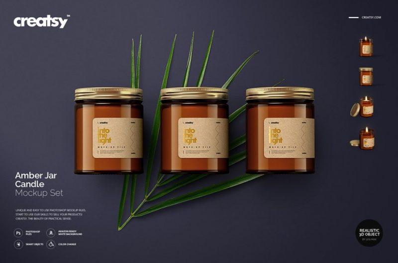 Realistic Amber Candle Set Mockup
