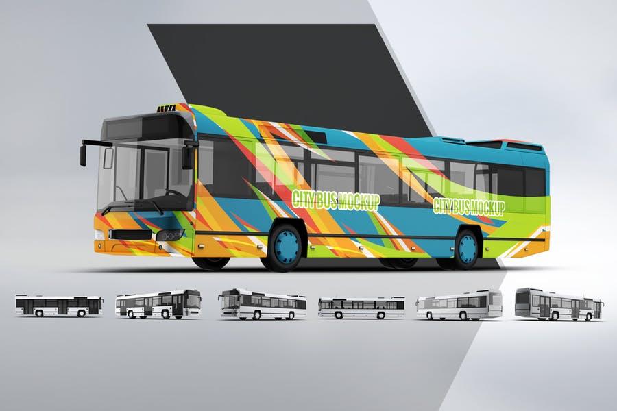 Realistic City Bus Mockup PSD