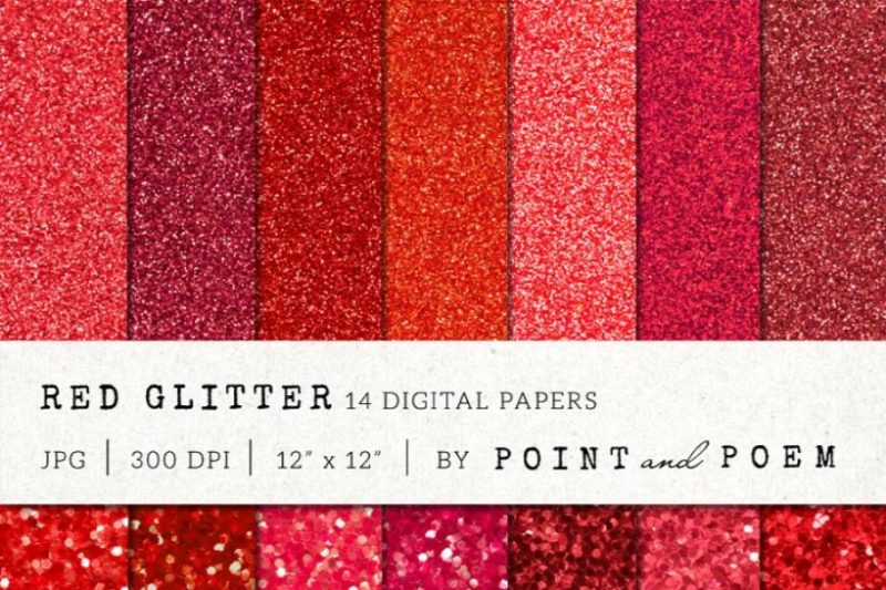 Red Glitter Digital Papers Pack