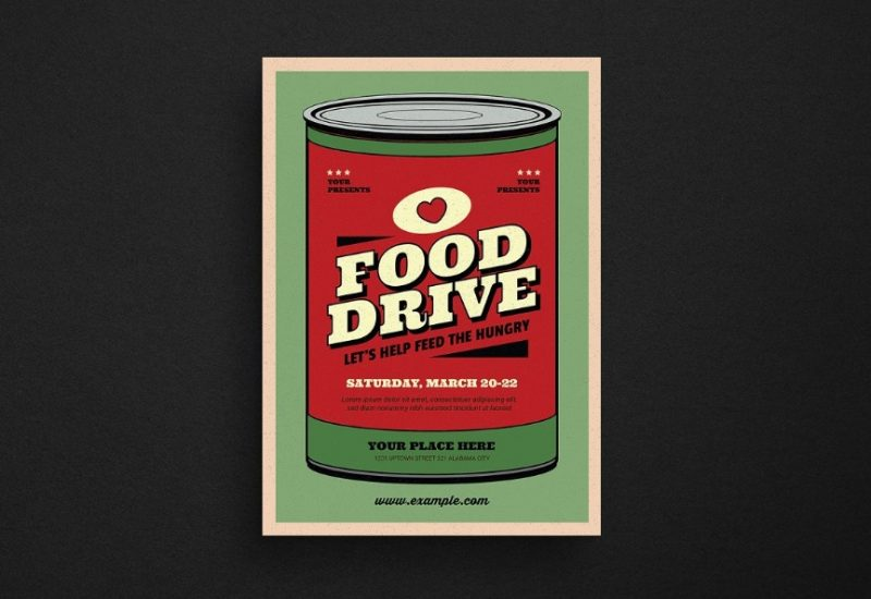 Retro Food Drive Flyers