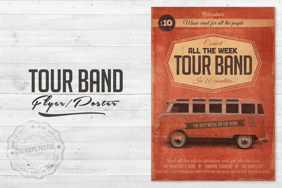 Retro Tour Band Flyer Poster
