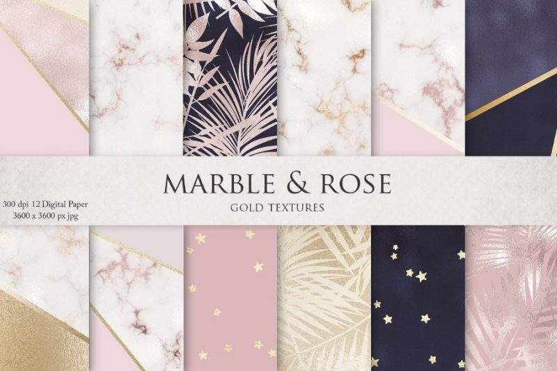 Rose Gold Marble Textures Background