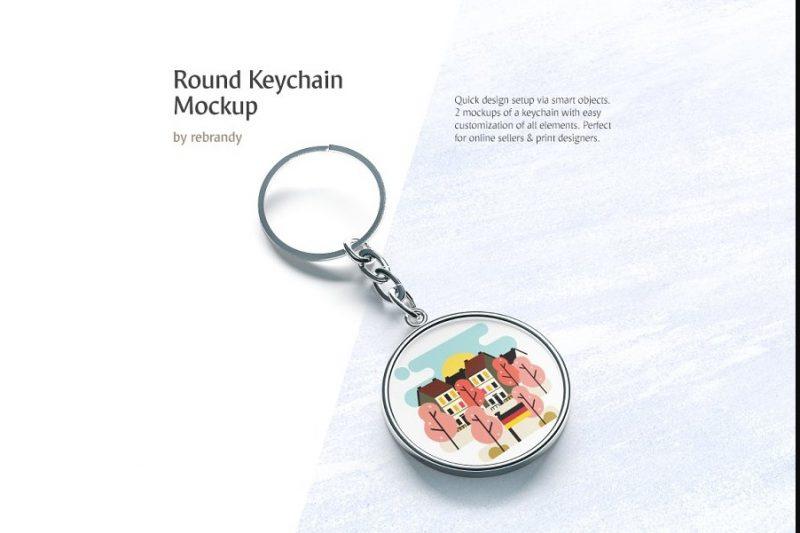 Round Keychain Mockup PSD