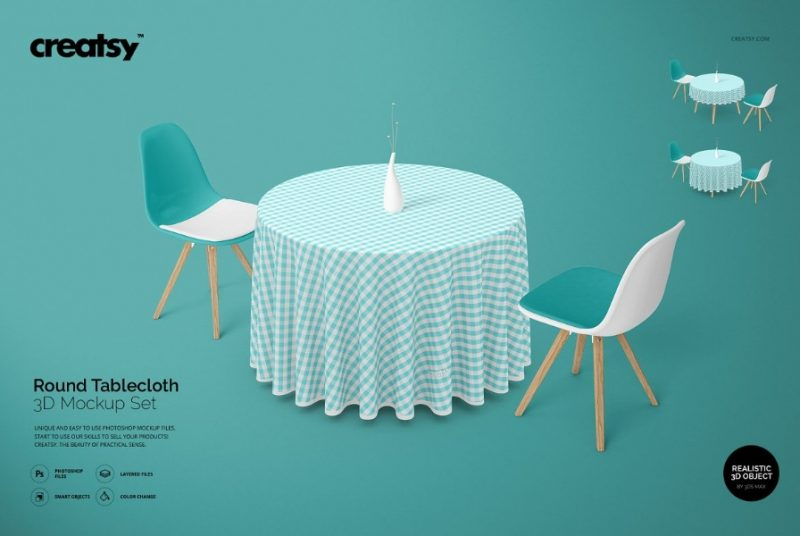 Round Table Cloth Mockups