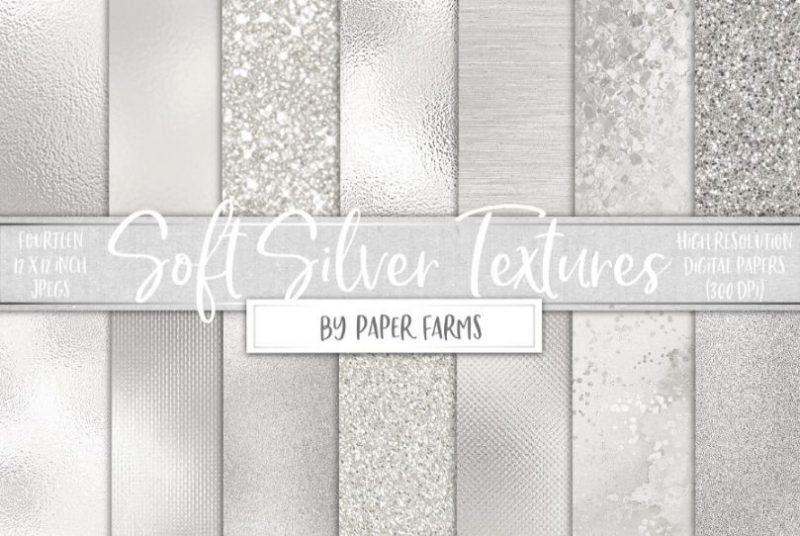 Soft Silver Glitter Textures