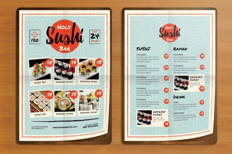Sushi Bar Flyers PSD