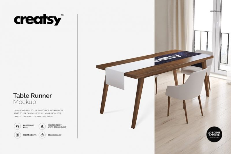 Table Runner Mockup PSD