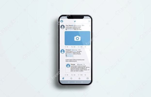 Twitter-on-silver-mobile-phone-mockup-Premium-Psd