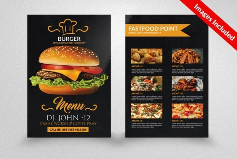 Two Sided Burger Flyer Templates