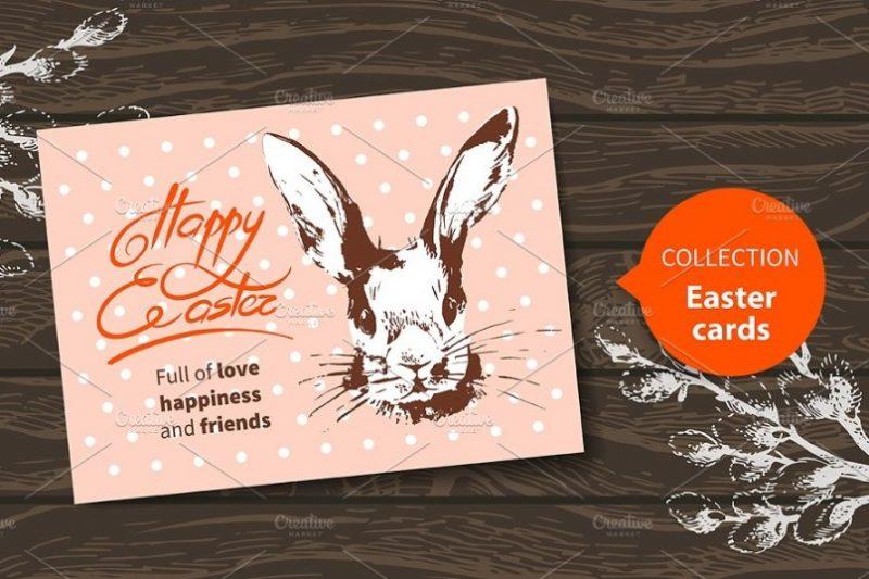Vintage Easter Cards Mockup PSD