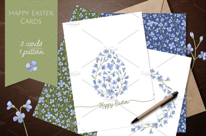 Watercolor Easter Cards Design