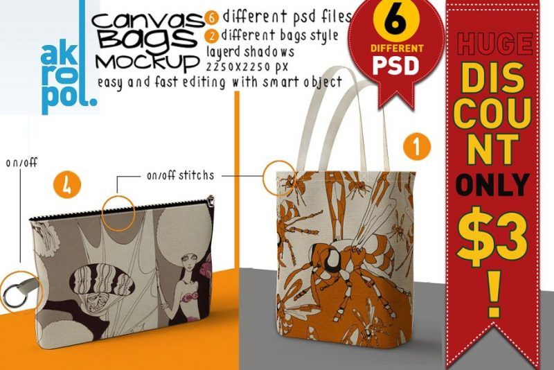 Zipped Canvas Bag Mockup