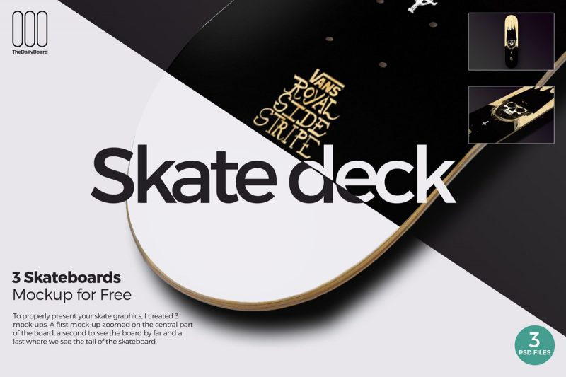 3 Skate Boards Mockup PSD