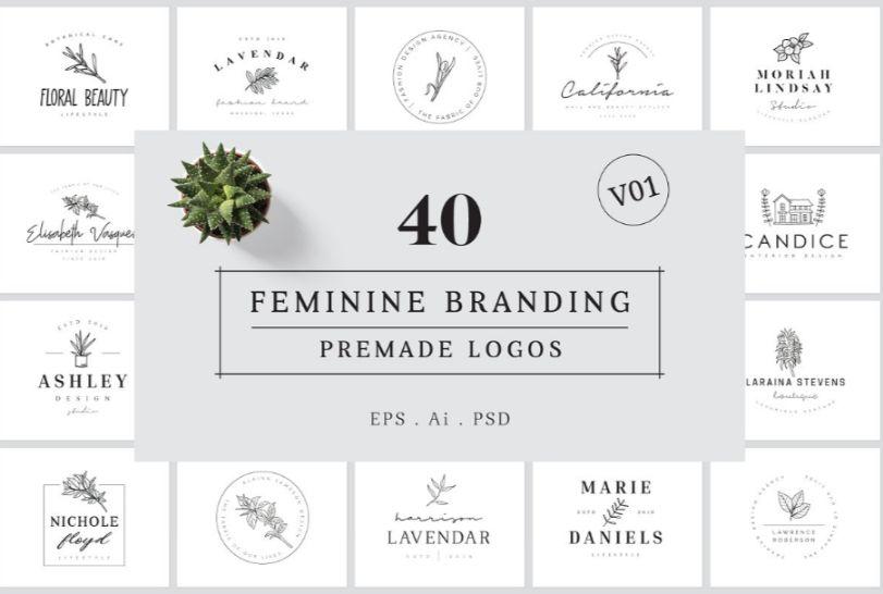 40 Feminine Pre Made Logos