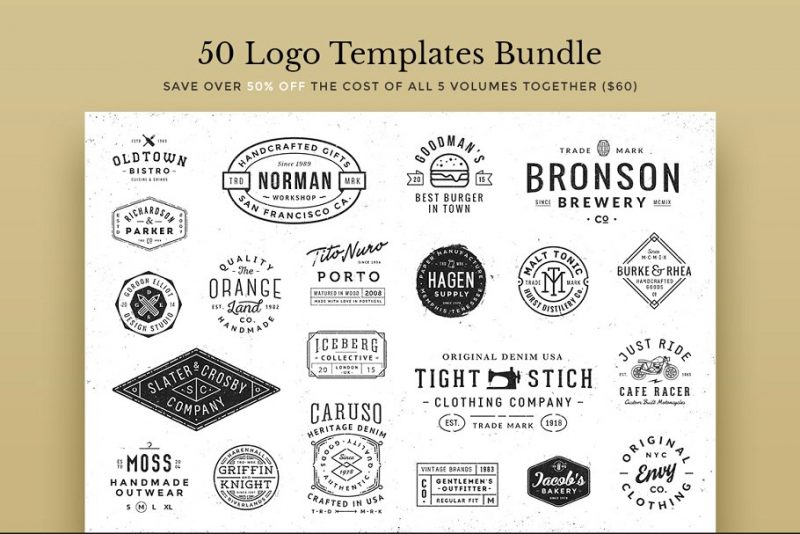 50 Logo Templates Branding Bundle