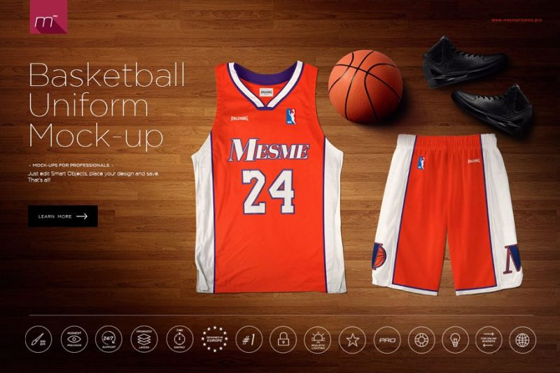 Basketball Uniform Mockup PSD