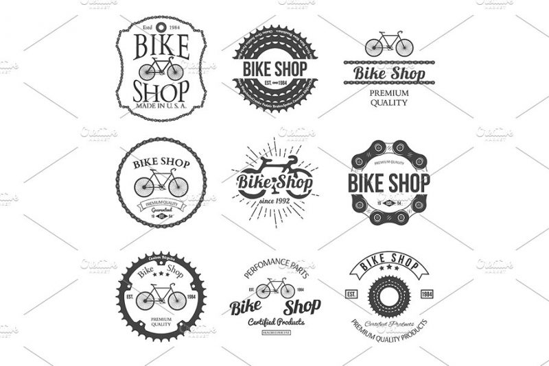 Bicycle Shop Logo Badges