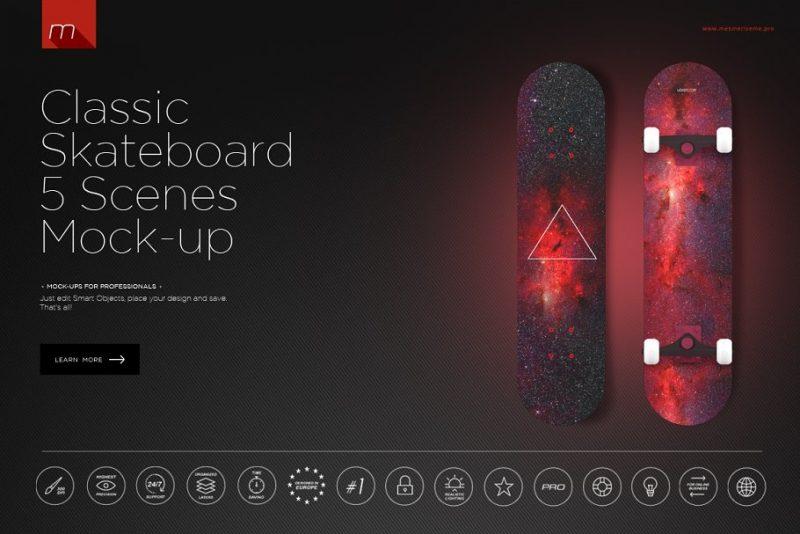Classic Skate Boards Mockup