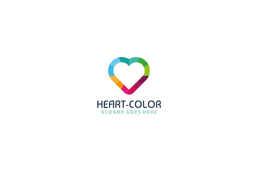 Colorful Heart Logo Design Template