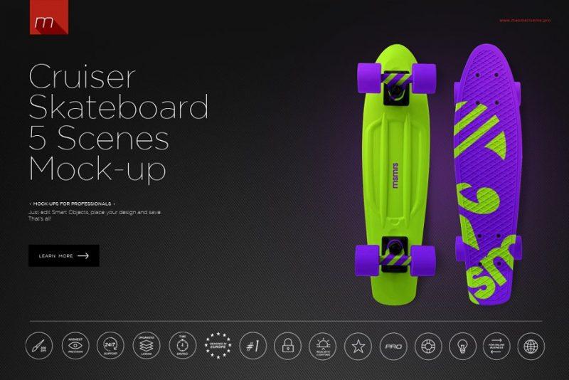 Cruiser Skateboard Mockups