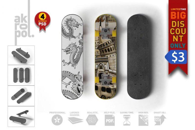 Editabke Skateboard Mockup PSD
