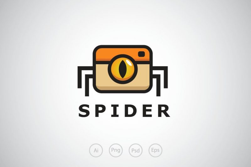 Editable Spider Camera Logo