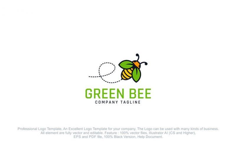 Green Bee Logo Design