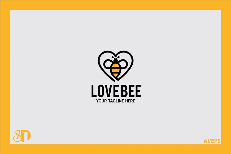 Love Shaped Bee Logo