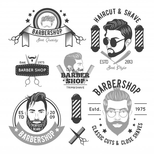 Monochrome Barber Labels