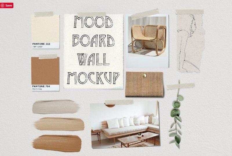 Mood Board Wall Mockup PSD